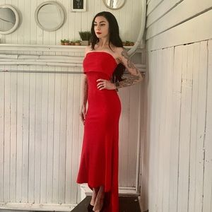 Strapless floor length red dress with train
